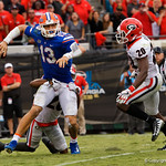 University of Florida Gators quarterback Feleipe Franks is sacked and fumbles the ball leadinhg to a Georgia touchdown during the second half as the Gators lose to 42-7 to the Georgia Bulldogs at EverBank Field in Jacksonville, Florida.  October 28th, 2017.  Gator Country photo by David Bowie.