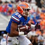 University of Florida Gators running back Malik Davis rushing during the first half as the Gators lose to 42-7 to the Georgia Bulldogs at EverBank Field in Jacksonville, Florida.  October 28th, 2017.  Gator Country photo by David Bowie.