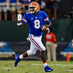 University of Florida Gators quarterback Malik Zaire scrambling downfield during the second half as the Gators lose to 42-7 to the Georgia Bulldogs at EverBank Field in Jacksonville, Florida.  October 28th, 2017.  Gator Country photo by David Bowie.