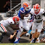 University of Florida Gators running back Adarius Lemons rushing during the first half as the Gators lose to 42-7 to the Georgia Bulldogs at EverBank Field in Jacksonville, Florida.  October 28th, 2017.  Gator Country photo by David Bowie.