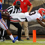 Georgia running back Elijah Holyfield dives into the endzone during the second half as the Gators lose to 42-7 to the Georgia Bulldogs at EverBank Field in Jacksonville, Florida.  October 28th, 2017.  Gator Country photo by David Bowie.