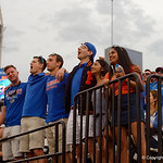 Florida Gators fans cheering on their team during the second half as the Gators lose to 42-7 to the Georgia Bulldogs at EverBank Field in Jacksonville, Florida.  October 28th, 2017.  Gator Country photo by David Bowie.