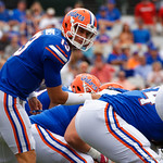 University of Florida Gators quarterback Feleipe Franks kaing adjustments at the line of scrimmage during the first half as the Gators lose to 42-7 to the Georgia Bulldogs at EverBank Field in Jacksonville, Florida.  October 28th, 2017.  Gator Country photo by David Bowie.