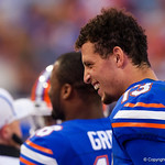 University of Florida Gators quarterback Feleipe Franks on the sideline after geting pulled out of the game during the second half as the Gators lose to 42-7 to the Georgia Bulldogs at EverBank Field in Jacksonville, Florida.  October 28th, 2017.  Gator Country photo by David Bowie.