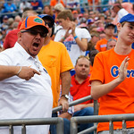 A Florida Gators fan voices his dissaproval as the Gators run into the locker room during the first half as the Gators lose to 42-7 to the Georgia Bulldogs at EverBank Field in Jacksonville, Florida.  October 28th, 2017.  Gator Country photo by David Bowie.