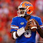 University of Florida Gators quarterback Malik Zaire looking downfield during the second half as the Gators lose to 42-7 to the Georgia Bulldogs at EverBank Field in Jacksonville, Florida.  October 28th, 2017.  Gator Country photo by David Bowie.