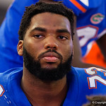University of Florida Gators offensive lineman Martez Ivey on the sideline during the second half as the Gators lose to 42-7 to the Georgia Bulldogs at EverBank Field in Jacksonville, Florida.  October 28th, 2017.  Gator Country photo by David Bowie.