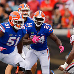 University of Florida Gators running back Mark Thompson rushing during the first half as the Gators lose to 42-7 to the Georgia Bulldogs at EverBank Field in Jacksonville, Florida.  October 28th, 2017.  Gator Country photo by David Bowie.
