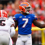 University of Florida Gators defensive back Duke Dawson during the first half as the Gators lose to 42-7 to the Georgia Bulldogs at EverBank Field in Jacksonville, Florida.  October 28th, 2017.  Gator Country photo by David Bowie.