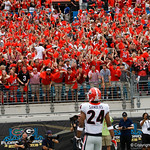 Georgia Bulldgos safety Dominick Sanders intercepts a pass and returns it for a touchdwown during the first half as the Gators lose to 42-7 to the Georgia Bulldogs at EverBank Field in Jacksonville, Florida.  October 28th, 2017.  Gator Country photo by David Bowie.