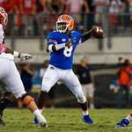 University of Florida Gators quarterback Malik Zaire throwing during the second half as the Gators lose to 42-7 to the Georgia Bulldogs at EverBank Field in Jacksonville, Florida.  October 28th, 2017.  Gator Country photo by David Bowie.