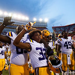 LSU wide receiver Justin Jefferson celebrates a LSU win as the Florida Gators lose on homecoming to the  LSU Tigers 17-16 at Ben Hill Griffin Stadium in Gainesville, Florida. October 7th, 2017.  Gator Country photo by David Bowie.