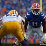 University of Florida Gators linebacker Vosean Joseph during the second half as the Florida Gators lose on homecoming to the  LSU Tigers 17-16 at Ben Hill Griffin Stadium in Gainesville, Florida. October 7th, 2017.  Gator Country photo by David Bowie.