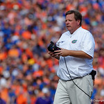 University of Florida Gators head coach Jim McElwain during the first half as the Florida Gators lose on homecoming to the  LSU Tigers 17-16 at Ben Hill Griffin Stadium in Gainesville, Florida. October 7th, 2017.  Gator Country photo by David Bowie.