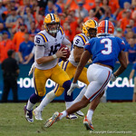 LSU Quarterback Danny Etling scrambling during the first half as the Florida Gators lose on homecoming to the  LSU Tigers 17-16 at Ben Hill Griffin Stadium in Gainesville, Florida. October 7th, 2017.  Gator Country photo by David Bowie.