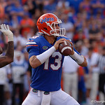 University of Florida Gators quarterback Feleipe Franks scrambles during the first half as the Florida Gators lose on homecoming to the  LSU Tigers 17-16 at Ben Hill Griffin Stadium in Gainesville, Florida. October 7th, 2017.  Gator Country photo by David Bowie.