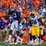 University of Florida Gators defensive back Chauncey Gardner, Jr. celebrates during the first half as the Florida Gators lose on homecoming to the  LSU Tigers 17-16 at Ben Hill Griffin Stadium in Gainesville, Florida. October 7th, 2017.  Gator Country photo by David Bowie.