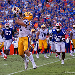 LSU Quarterback Danny Etling throws to fullback Tory Carter for a touchdown to put LSU up 17-3 during the second half as the Florida Gators lose on homecoming to the  LSU Tigers 17-16 at Ben Hill Griffin Stadium in Gainesville, Florida. October 7th, 2017.  Gator Country photo by David Bowie.