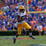 LSU Tigers wide receiver Russell Gage sprints into the endzone to put the Tigers up 7-0 during the first half as the Florida Gators lose on homecoming to the  LSU Tigers 17-16 at Ben Hill Griffin Stadium in Gainesville, Florida. October 7th, 2017.  Gator Country photo by David Bowie.