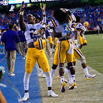 LSU cornerback Kevin Toliver II celebrates a LSU win as the Florida Gators lose on homecoming to the  LSU Tigers 17-16 at Ben Hill Griffin Stadium in Gainesville, Florida. October 7th, 2017.  Gator Country photo by David Bowie.