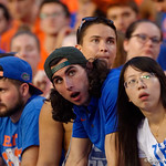 Gator fans react during the second half as the Florida Gators lose on homecoming to the  LSU Tigers 17-16 at Ben Hill Griffin Stadium in Gainesville, Florida. October 7th, 2017.  Gator Country photo by David Bowie.