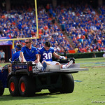 University of Florida Gators defensive back Garrett Stephens is carted off the field during the first half as the Florida Gators lose on homecoming to the  LSU Tigers 17-16 at Ben Hill Griffin Stadium in Gainesville, Florida. October 7th, 2017.  Gator Country photo by David Bowie.