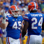 University of Florida Gators linebacker R.J. Raymond and University of Florida Gators running back Mark Thompson get pumped up for kickoff during the first half as the Florida Gators lose on homecoming to the  LSU Tigers 17-16 at Ben Hill Griffin Stadium in Gainesville, Florida. October 7th, 2017.  Gator Country photo by David Bowie.