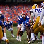 University of Florida Gators quarterback Feleipe Franks gets set under center during the second half as the Florida Gators lose on homecoming to the  LSU Tigers 17-16 at Ben Hill Griffin Stadium in Gainesville, Florida. October 7th, 2017.  Gator Country photo by David Bowie.