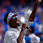 THe Florida Gators hype man gets the crowd amped up during pregame as the Florida Gators lose on homecoming to the  LSU Tigers 17-16 at Ben Hill Griffin Stadium in Gainesville, Florida. October 7th, 2017.  Gator Country photo by David Bowie.
