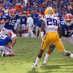 University of Florida Gators kicker Eddy Pineiro kicks in a field goal to bring the score to 7-3 during the first half as the Florida Gators lose on homecoming to the  LSU Tigers 17-16 at Ben Hill Griffin Stadium in Gainesville, Florida. October 7th, 2017.  Gator Country photo by David Bowie.