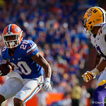 University of Florida Gators running back Malik Davis rushing during the first half as the Florida Gators lose on homecoming to the  LSU Tigers 17-16 at Ben Hill Griffin Stadium in Gainesville, Florida. October 7th, 2017.  Gator Country photo by David Bowie.