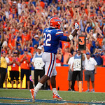 University of Florida Gators running back Lamical Perine celebrates after scoring a touchdown during the second half as the Florida Gators lose on homecoming to the  LSU Tigers 17-16 at Ben Hill Griffin Stadium in Gainesville, Florida. October 7th, 2017.  Gator Country photo by David Bowie.