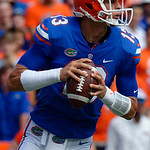 University of Florida Gators quarterback Feleipe Franks looks downfield during the first half as the Florida Gators lose on homecoming to the  LSU Tigers 17-16 at Ben Hill Griffin Stadium in Gainesville, Florida. October 7th, 2017.  Gator Country photo by David Bowie.