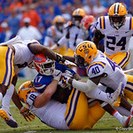 University of Florida Gators athlete Kadarius Toney being tackled during the first half as the Florida Gators lose on homecoming to the  LSU Tigers 17-16 at Ben Hill Griffin Stadium in Gainesville, Florida. October 7th, 2017.  Gator Country photo by David Bowie.