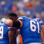 THe Florida Gators offensive line gathers during pregame as the Florida Gators lose on homecoming to the  LSU Tigers 17-16 at Ben Hill Griffin Stadium in Gainesville, Florida. October 7th, 2017.  Gator Country photo by David Bowie.