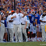 University of Florida Gators head coach Jim McElwain during the second half as the Florida Gators lose on homecoming to the  LSU Tigers 17-16 at Ben Hill Griffin Stadium in Gainesville, Florida. October 7th, 2017.  Gator Country photo by David Bowie.