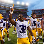 LSuU defensive back Cameron Lewis celebrates a LSU win as the Florida Gators lose on homecoming to the  LSU Tigers 17-16 at Ben Hill Griffin Stadium in Gainesville, Florida. October 7th, 2017.  Gator Country photo by David Bowie.