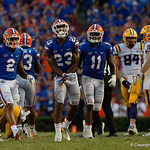 University of Florida Gators defensive back Chauncey Gardner, Jr. celebrates after making a tackle during the second half as the Florida Gators lose on homecoming to the  LSU Tigers 17-16 at Ben Hill Griffin Stadium in Gainesville, Florida. October 7th, 2017.  Gator Country photo by David Bowie.