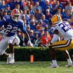 University of Florida Gators running back Lamical Perine rushing during the first half as the Florida Gators lose on homecoming to the  LSU Tigers 17-16 at Ben Hill Griffin Stadium in Gainesville, Florida. October 7th, 2017.  Gator Country photo by David Bowie.