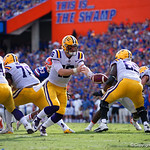 LSU Quarterback Danny Etling turns to hand the ball off during the first half as the Florida Gators lose on homecoming to the  LSU Tigers 17-16 at Ben Hill Griffin Stadium in Gainesville, Florida. October 7th, 2017.  Gator Country photo by David Bowie.