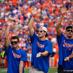 The Florida Gators mens swimming team is honored during the first half as the Florida Gators lose on homecoming to the  LSU Tigers 17-16 at Ben Hill Griffin Stadium in Gainesville, Florida. October 7th, 2017.  Gator Country photo by David Bowie.
