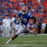 University of Florida Gators running back Malik Davis rushing during the second half as the Florida Gators lose on homecoming to the  LSU Tigers 17-16 at Ben Hill Griffin Stadium in Gainesville, Florida. October 7th, 2017.  Gator Country photo by David Bowie.