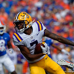 LSU Tigers wide receiver D.J. Chark turns upfield during the first half as the Florida Gators lose on homecoming to the  LSU Tigers 17-16 at Ben Hill Griffin Stadium in Gainesville, Florida. October 7th, 2017.  Gator Country photo by David Bowie.