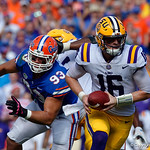 LSU Quarterback Danny Etling drops back to pass during the first half as the Florida Gators lose on homecoming to the  LSU Tigers 17-16 at Ben Hill Griffin Stadium in Gainesville, Florida. October 7th, 2017.  Gator Country photo by David Bowie.