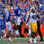 University of Florida Gators running back Lamical Perine leaps into the air in celebration after scoring to bring the score to 17-10 during the second half as the Florida Gators lose on homecoming to the  LSU Tigers 17-16 at Ben Hill Griffin Stadium in Gainesville, Florida. October 7th, 2017.  Gator Country photo by David Bowie.