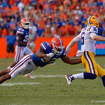 University of Florida Gators defensive lineman Jabari Zuniga dives to tackle to LSU quarterback Danny Etling during the second half as the Florida Gators lose on homecoming to the  LSU Tigers 17-16 at Ben Hill Griffin Stadium in Gainesville, Florida. October 7th, 2017.  Gator Country photo by David Bowie.