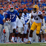 University of Florida Gators athlete Kadarius Toney sprints down the sideline during the second half as the Florida Gators lose on homecoming to the  LSU Tigers 17-16 at Ben Hill Griffin Stadium in Gainesville, Florida. October 7th, 2017.  Gator Country photo by David Bowie.