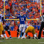 University of Florida Gators quarterback Feleipe Franks calls out protection schemes during the second half as the Florida Gators lose on homecoming to the  LSU Tigers 17-16 at Ben Hill Griffin Stadium in Gainesville, Florida. October 7th, 2017.  Gator Country photo by David Bowie.