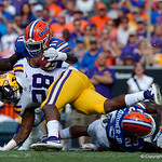 University of Florida Gators linebacker Vosean Joseph tackles LSU running back Darrel Williams during the first half as the Florida Gators lose on homecoming to the  LSU Tigers 17-16 at Ben Hill Griffin Stadium in Gainesville, Florida. October 7th, 2017.  Gator Country photo by David Bowie.