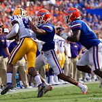 University of Florida Gators cornerback Marco Wilson making a tackle during the first half as the Florida Gators lose on homecoming to the  LSU Tigers 17-16 at Ben Hill Griffin Stadium in Gainesville, Florida. October 7th, 2017.  Gator Country photo by David Bowie.